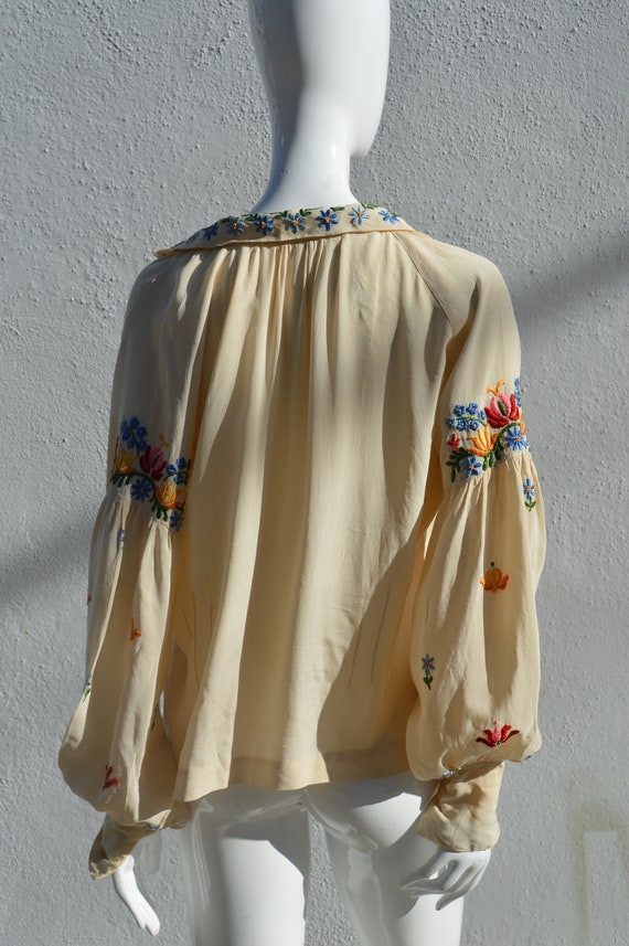 Vintage 40's hand embroidered silk blouse pheasan… - image 9