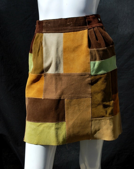 Super Cute 70s Patchwork Brown Suede Leather Miniskirt by Le Chateau