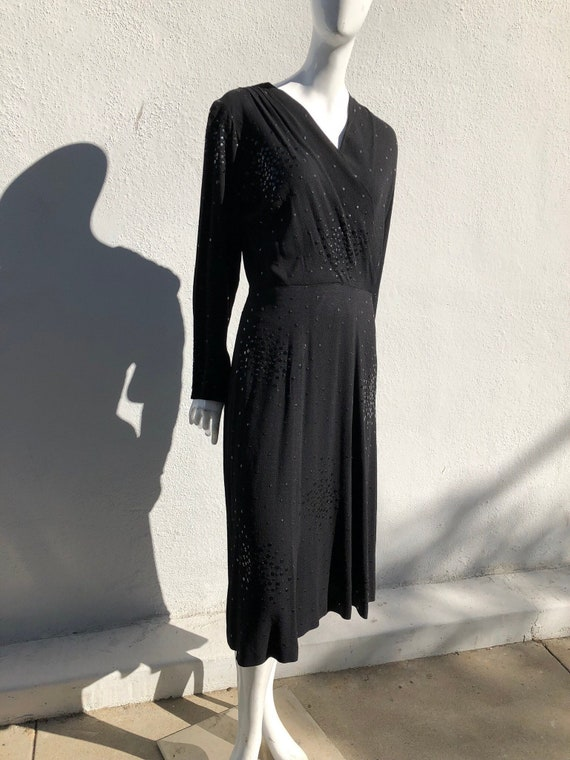 Vintage 40's formal evening cocktail dress hand studded LBD WWII classic american mid century design