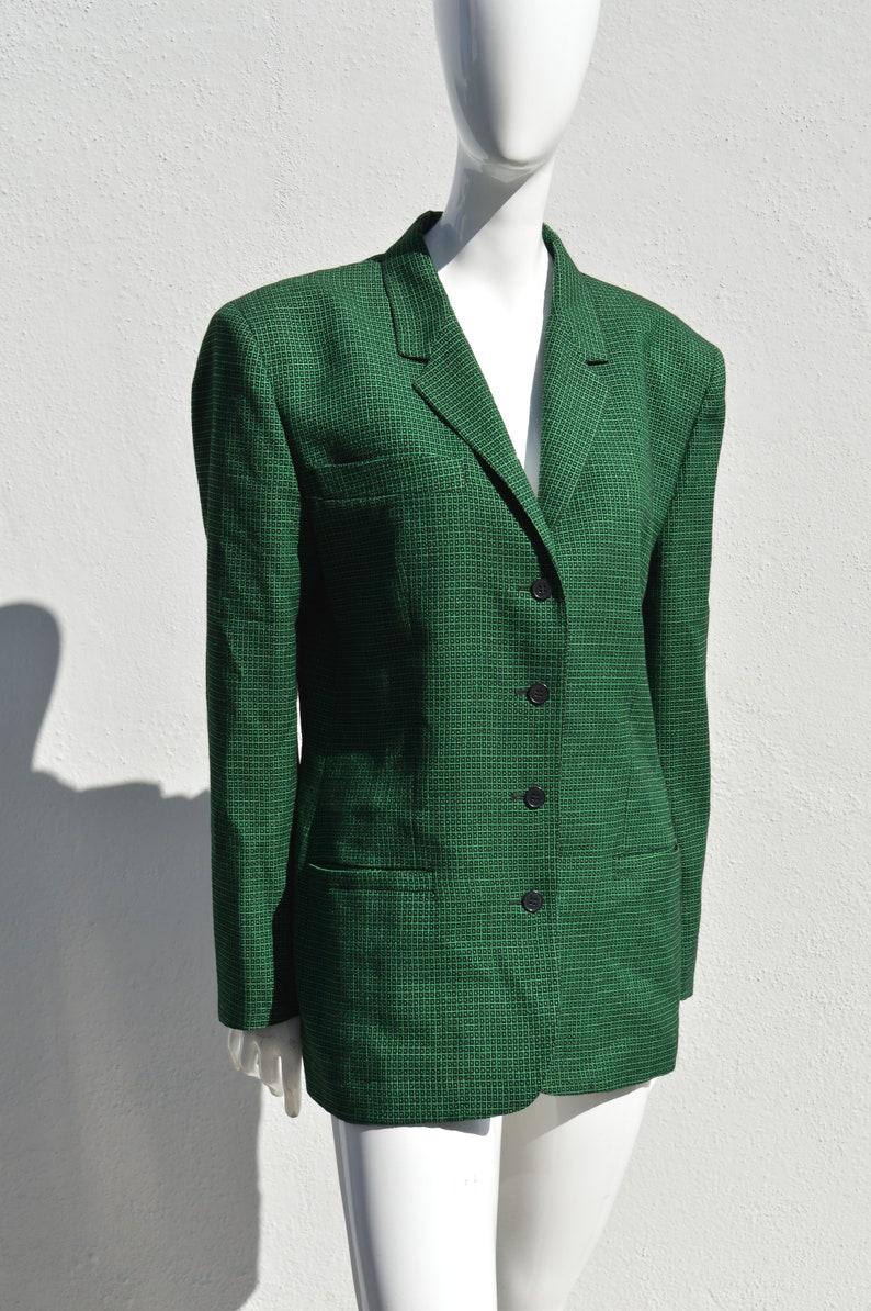 Vintage 80/'s COMPLICE 4 button blazer jacket size 10 designer jacket novelty print wool blend big shoulders by thekaliman