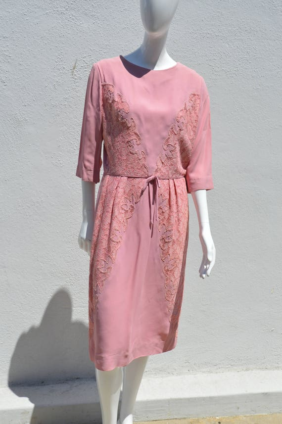 Vintage 60's PEGGY HUNT mid century Pink dress lac