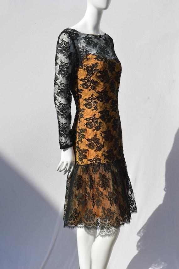 Vintage 60's PEGGY HUNT black lace dress fish tail