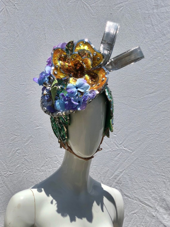 Vintage showgirl hat cap by Elizabeth Courtney HOL