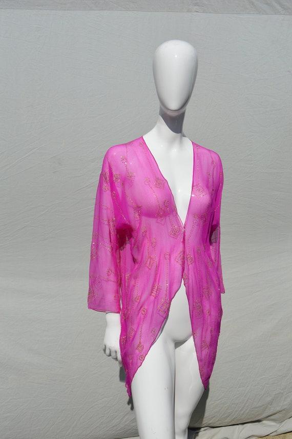 Vintage 70's HOLLY HARP lace label silk Assuit top