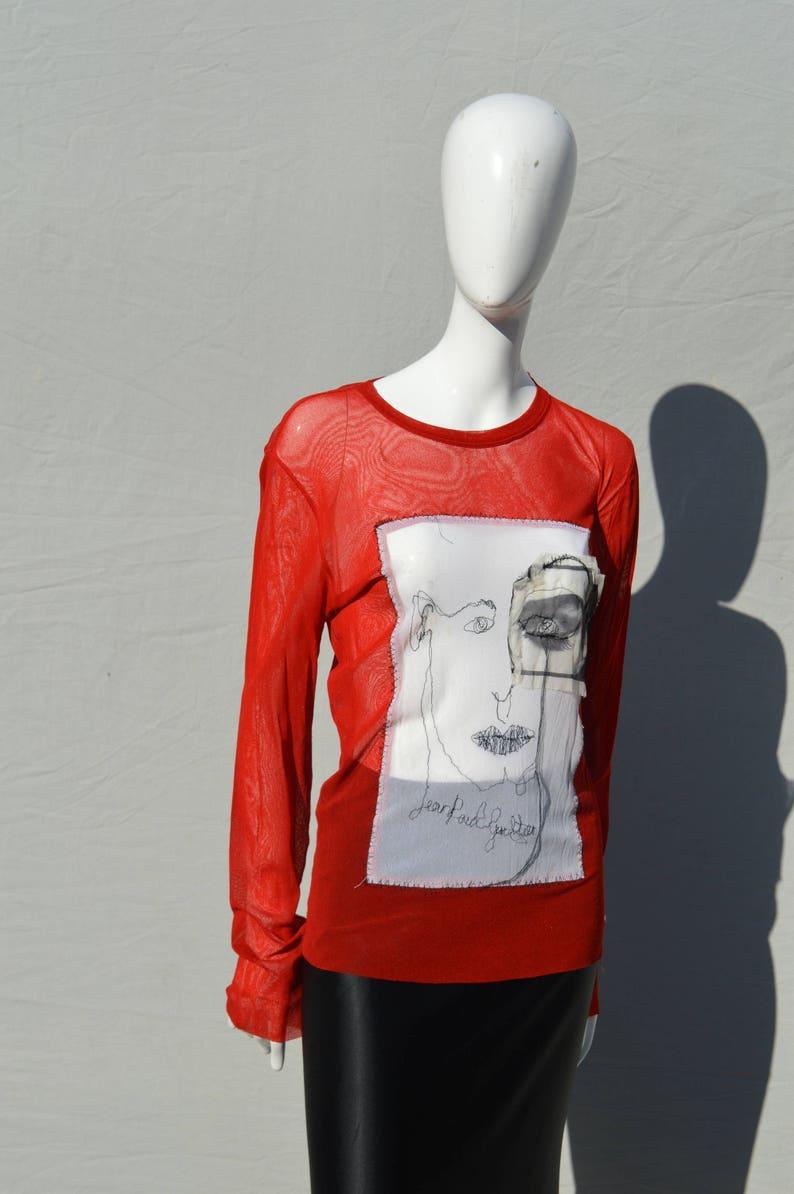 7570464882607d Vintage JPG Jean Paul Gaultier MAILLE mesh shirt face collage   Etsy