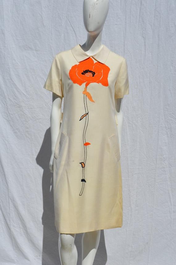 Vintage 60's TINA LESSER dress size L patchwork fl
