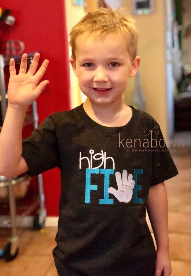 Boy Birthday Shirt Fifth High Five Dark Charcoal