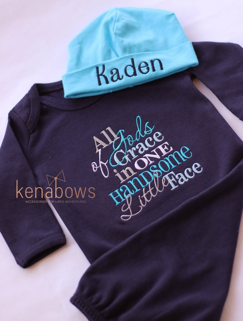 ed8d62962 New Baby Gown Newborn Navy Boy Outfit Gods Grace in One