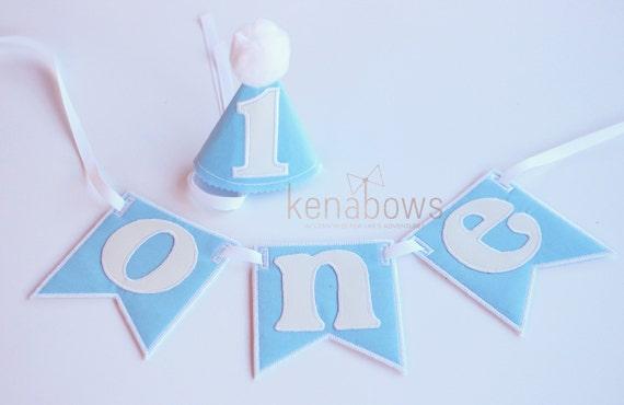 1st Birthday Banner Baby Boy First Blue White