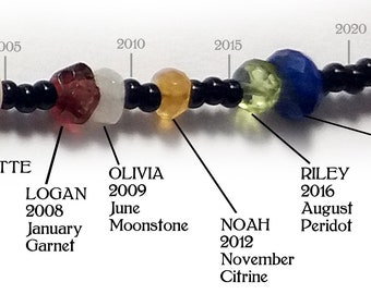 Birthstone Timeline Bracelet, 1 Bead=1 Year, Mother's Day, Grandmother Bracelet, Customized, Ancestry, Family, Gemstone, by Chain of Being