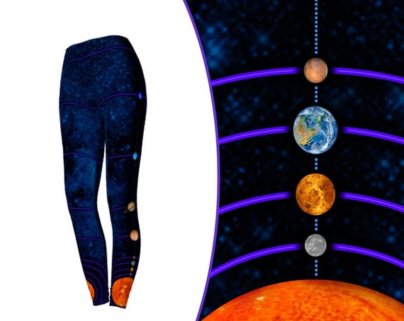 MiniVerse Leggings, Blue, 1 Dot = 10 Million Miles, Measuring, Proportional Distance, Astronomy, Planets, Planet Leggings, by Chain of Being