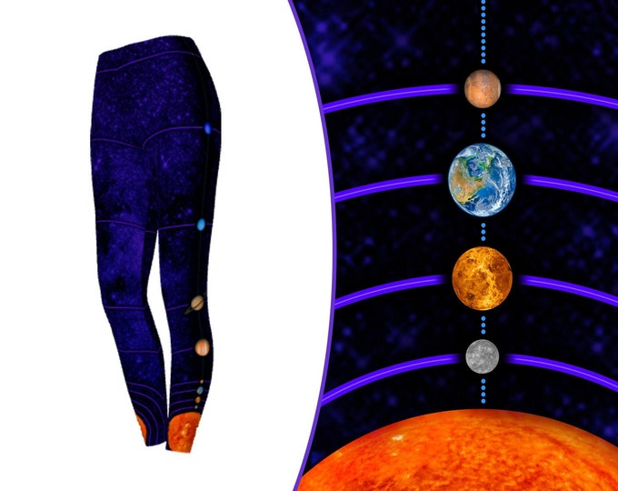 MiniVerse Leggings, 1 Dot = 10 Million Miles, Purple, Solar System Pants, Planet Pants, Planets, Accurate Distances, Science, Chain of Being