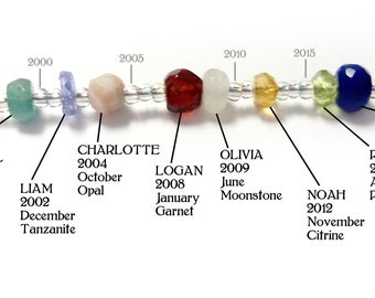 Birthstone Timeline Necklace, 1 Bead=1 Year, Mother's Day, Mother or Grandmother's Necklace, Customizable, Natural Gems, by Chain of Being