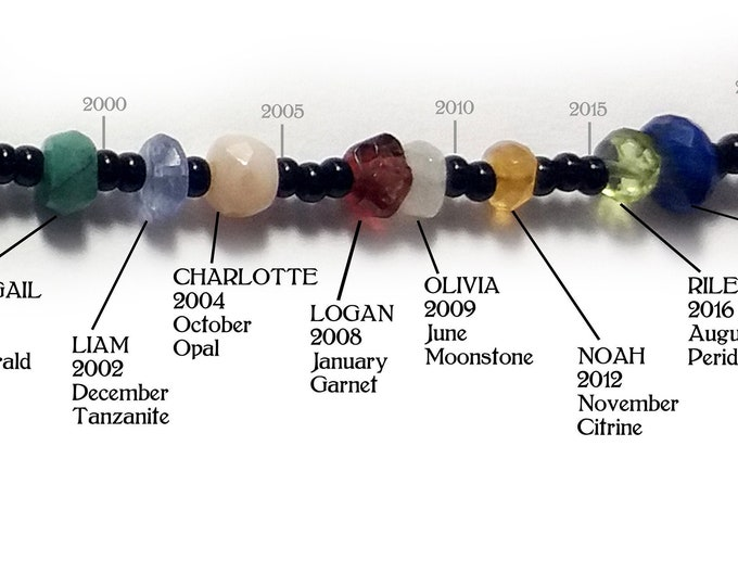 Grandmother's Bracelet, Timeline, Birthstones, 1 Bead=1 Year, Natural Stone, Mother's Day, Customized, Ancestry, Gemstone, by Chain of Being