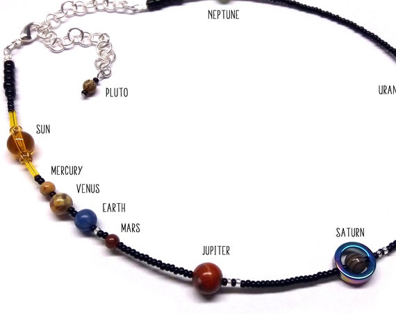 MiniVerse, We Love Pluto!, Solar System Necklace, Pluto Charm, Pluto, Planets, Gemstone, Astronomy, Adjustable, Choker, by Chain of Being