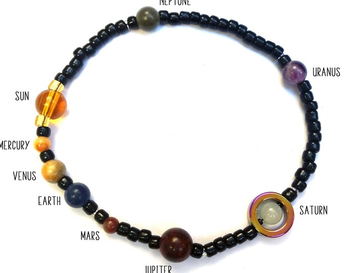 Jumbo MiniVerse, Solar System Bracelet, Elastic, Unisex Bracelet,Mens Bracelet,Man Bracelet, Science Gift, Planets,MiniVerse, Chain of Being