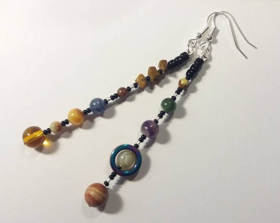 MiniVerse 2004 Planet Earrings, with Pluto!, Solar System Earrings, Gemstone, Planet Jewelry, Astronomy Jewelry, Planets, Chain of Being