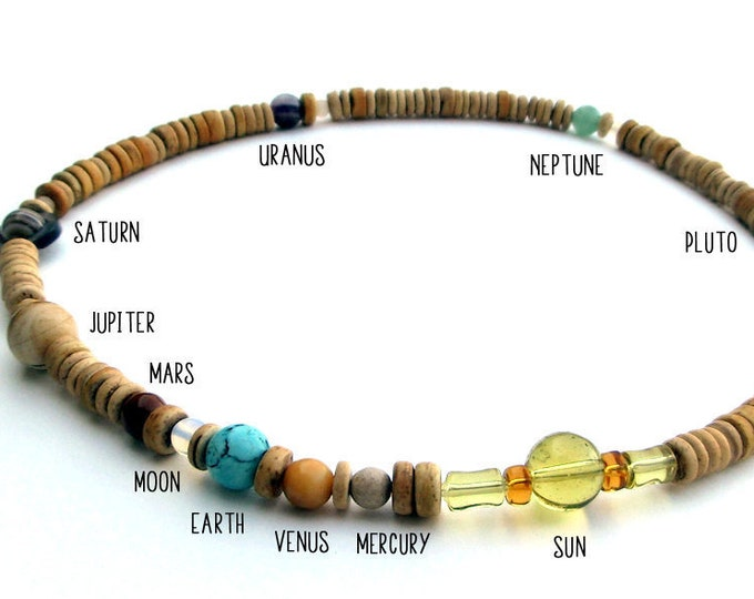 Solar System Necklace, Natural Gemstone Planet Beads, Light Wood Heishi, Authentic Proportional Distances, Mens Necklace, by Chain of Being