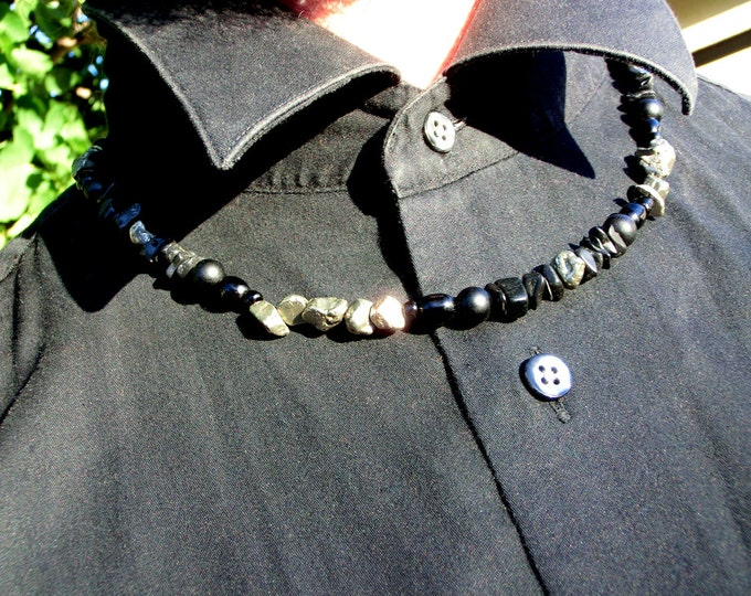 Mens Necklace, Lode Runner, Pyrite, Black Stone, and Black Pearl, Dude Necklace
