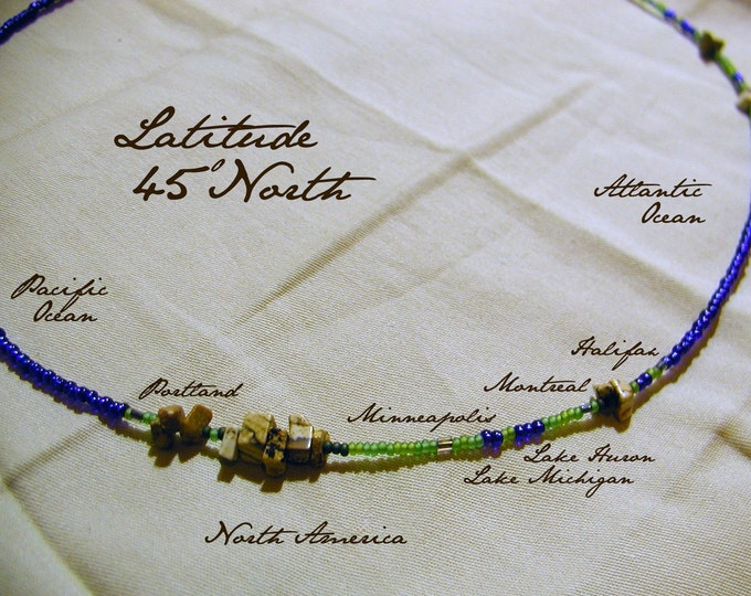 Latitude 45 North Necklace - Distance measured in Beads