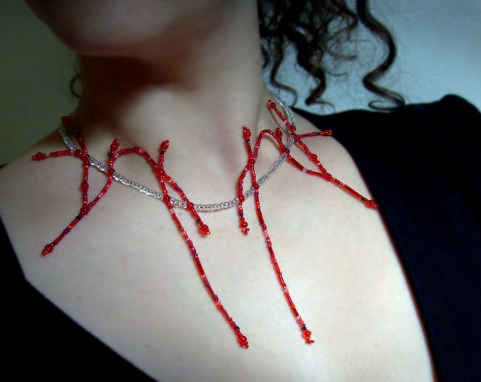 Arteries Necklace, Arteries of the Neck in Glass Beads, Statement, Science Jewelry, Gothic, Vampire, Halloween, Anatomy, by Chain of Being