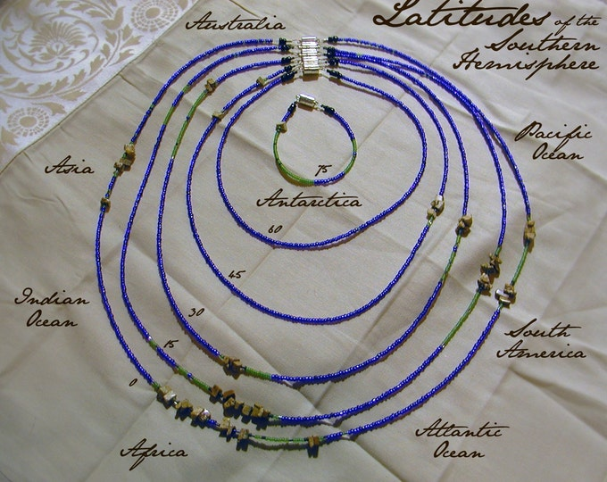 Southern Hemisphere Necklace and Bracelet Set - Distance measured in Beads