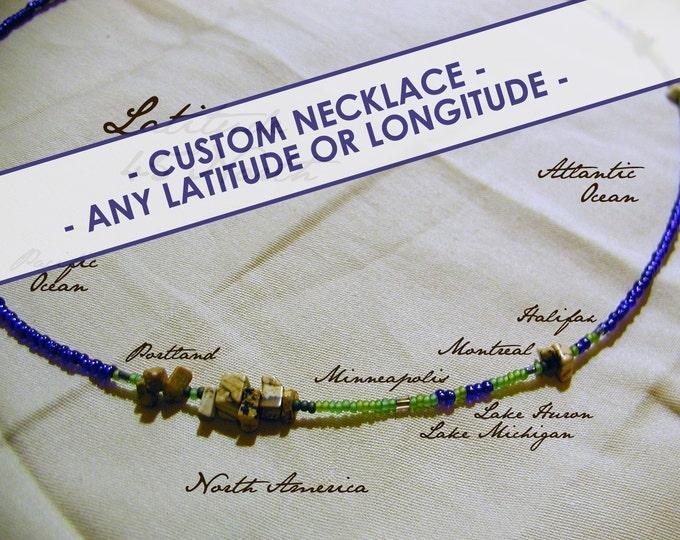Custom Latitude or Longitude Necklace - Distance measured in Beads