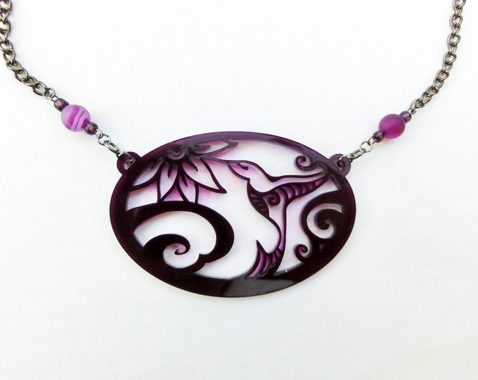 Hummingbird Necklace - Bird and Flower - Purple - Unique Humming Bird Amulet Laser Cut from Original Drawing by Laura Cesari