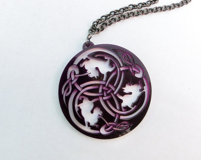Celtic Cat Necklace - Purple - Silhouette - Unique Celtic Cat Pendant Laser Cut from Original Drawing by Laura Cesari