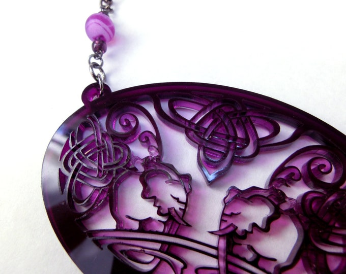 Purple Elephant Necklace - Celtic Knot - Statement Necklace - Unique Elephant Pendant Laser Cut from Original Drawing by Laura Cesari