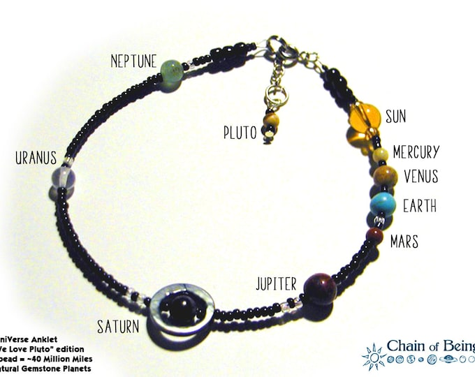 MiniVerse - We Love Pluto Edition - Solar System Anklet - Proportional Distances in Glass, Stone and Shell (10.5in)