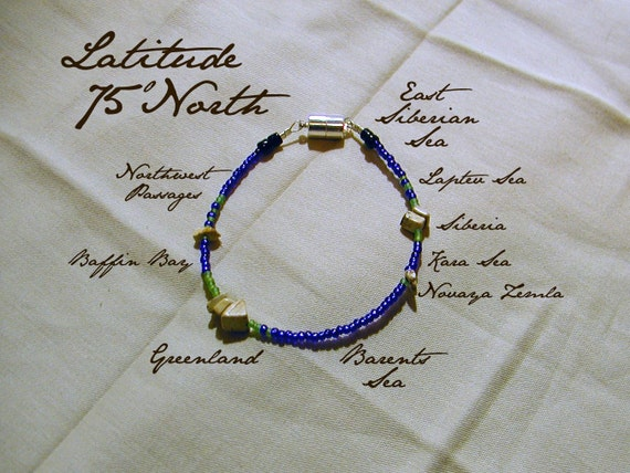Latitude 75 North Bracelet, Distance Measured in Beads, North Pole, Wearable World Map, Infographic Bracelet, by Chain of Being