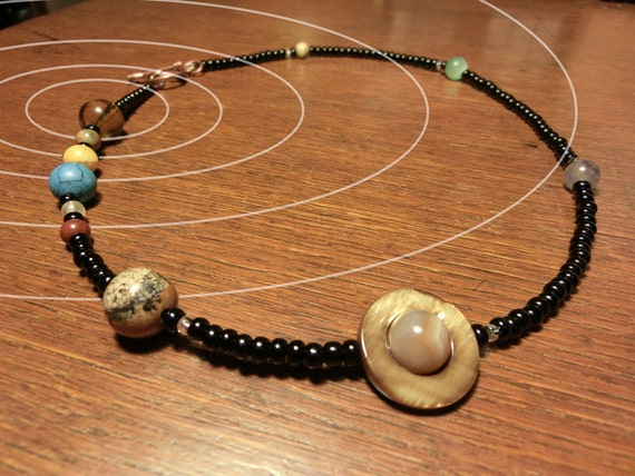 Solar System Necklace, Jumbo MiniVerse, Planet Necklace, Natural Gemstones, Mens Necklace, Accurate Proportional Distances,by Chain of Being