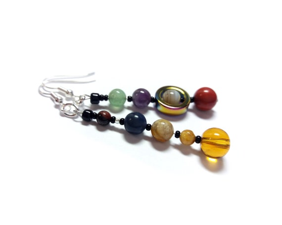 MicroMiniVerse Planet Earrings, Short Style, Solar System Earrings, Real Natural Gemstone, Planet Jewelry, Astronomy Jewelry, Chain of Being