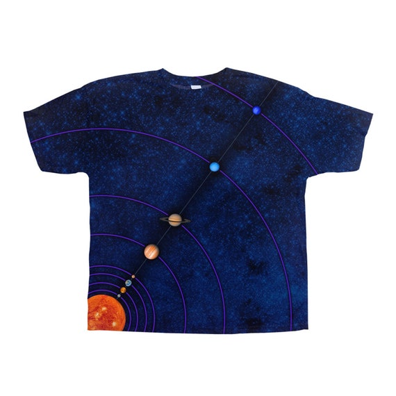 MiniVerse Tee, Blue, Pluto on Back, 1 Dot = ~10 Million Miles, Measuring, Solar System T Shirt, Sun, Planets, Planet Tee, by Chain of Being
