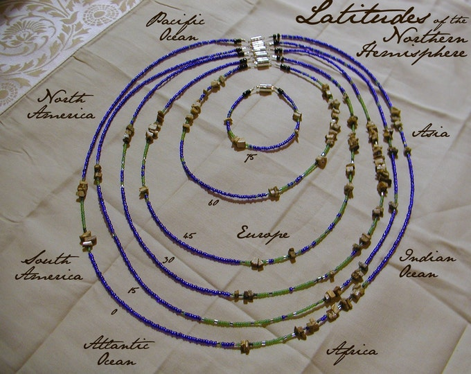 Northern Hemisphere Necklace and Bracelet Set - Distance measured in Beads