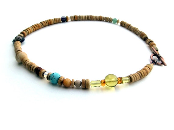 Mens Necklace - Solar System Necklace in Light Wood Heishi - Planets of the Solar System and Proportional Distances in Wood and Stone