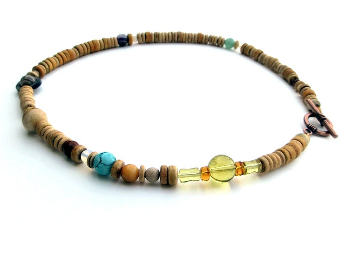 Mens Necklace, Solar System Necklace in Light Wood Heishi, For Him, Planets of the Solar System, Proportional Distances in Wood and Stone