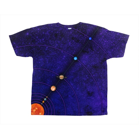 MiniVerse Tee, Purple, Proportional Distance, Orbits, Measuring,Planet Tee Shirt,Solar System Tee,All-Over Print, T-Shirt, by Chain of Being