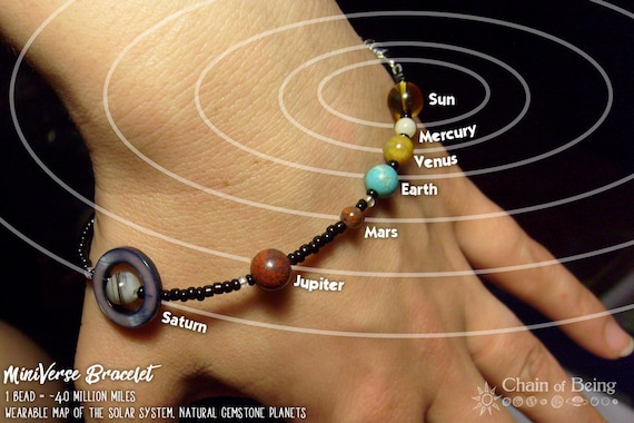 MiniVerse, Solar System Bracelet, Science, Accurate Distances, Celestial, Natural Gemstone,Planets,with Informational Card,by Chain of Being