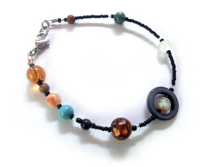MiniVerse 2004 - Solar System Bracelet with Pluto - Proportional Distances - Gemstone Planets - by Chain of Being