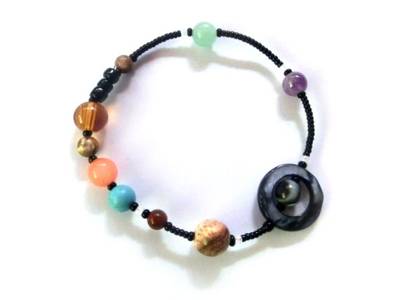 MiniVerse 2004 - Elastic Solar System Bracelet with Pluto - Proportional Distances - Gemstone Planets - by Chain of Being