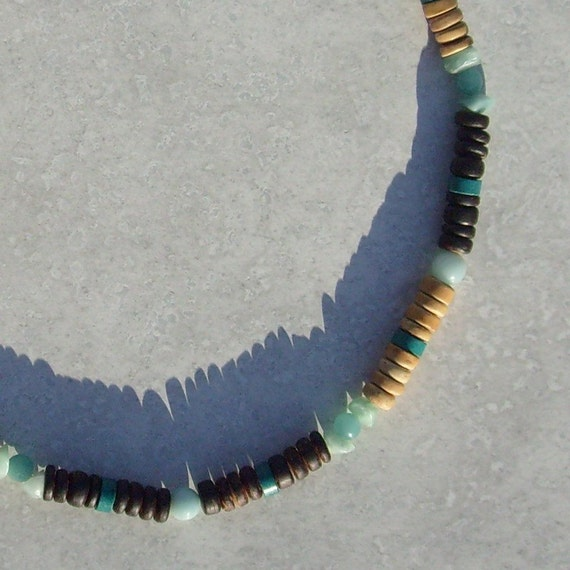 Mariner Necklace - Amazonite, Turquoise, Coconut and Wood - Mens Necklace