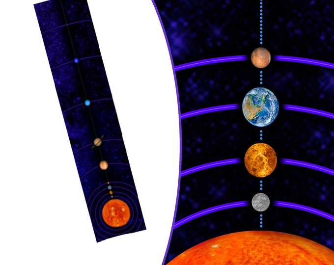 MiniVerse Scarf, 1 Dot = 10 Million Miles, Purple, Solar System Scarf, Planet Scarf, Planets, Accurate Distances, Science, Chain of Being