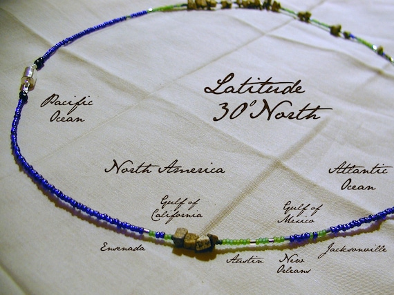Latitude 30 North Necklace - Distance Measured in Beads - Statement Necklace - Latitude Necklace - Beaded World Map - Personalized