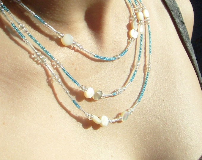 Troposphere Necklace, Clouds and Sky, Glass and Shell, Celestial Skies, Layers of the Atmosphere, Mother of Pearl, by Chain of Being