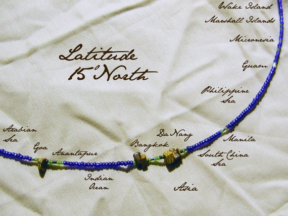 Latitude 15 North Necklace - Distance measured in Beads - Personalized - World Map in Beads - Statement Necklace - Beadwork