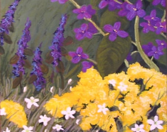 garden clouds, purple, yellow