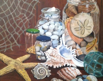 Original acrylic painting Seashell Collection