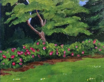 miniature painting, In the Garden, acrylic, original, inexpensive,